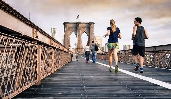 man's and women's put shoes and doing relax jogging