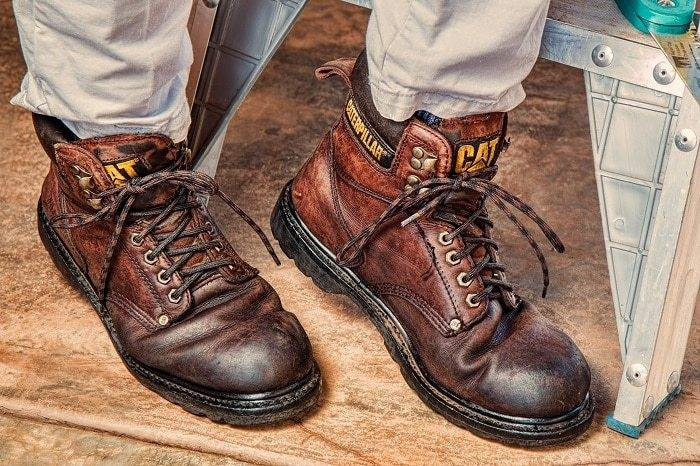 brown leather caterpillar safety toe boots