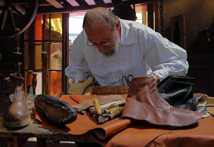 shoemaker fixing talking shoes
