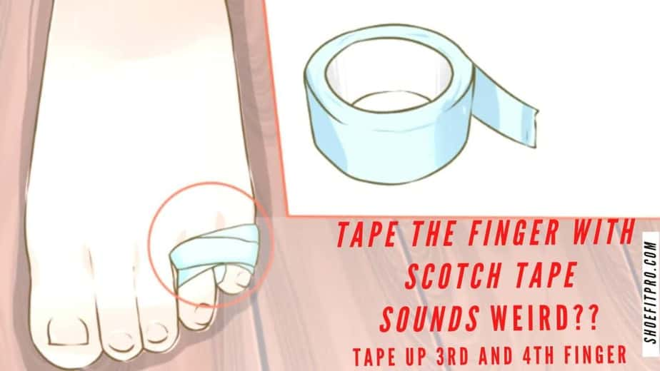 how to make new shoes feel comfortable-Tape the finger with Scotch tape