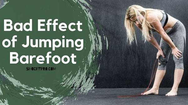 Bad effect of jumping Barefoot_  A women get tired after jumping rope without shoes