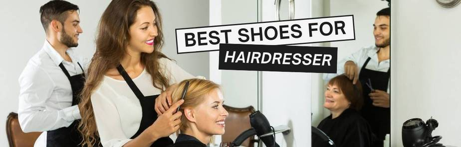 Best Shoes For Hairdressers- Male and female hair stylist doing hair cut their customer