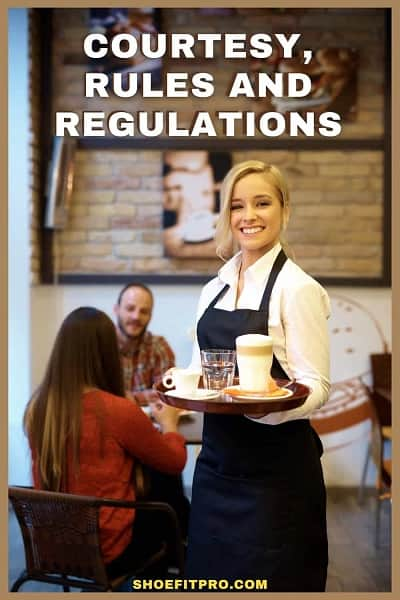 Courtesy, rules and regulations for waitresses